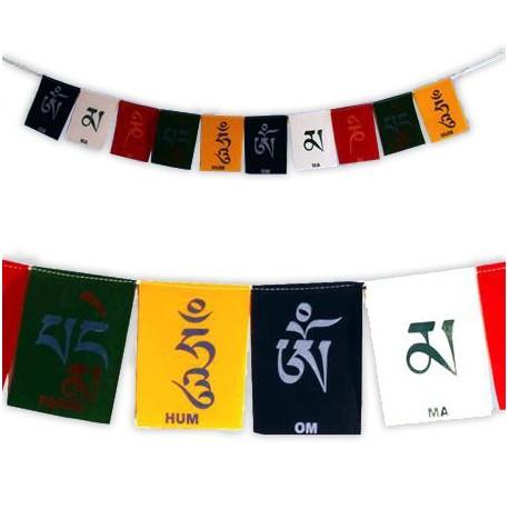 Cordone con 10 bandierine di preghiera tibetane - mantra: Om mani padme hum