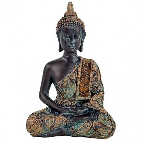 Buddha in meditazione finiture in stile antico 15 cm
