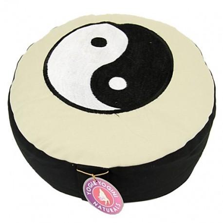 Cuscino da meditazione - con simbolo Yin Yang - bianco/nero