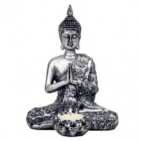 Buddha con portalumino - in color argento