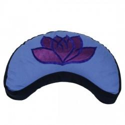 Cuscino meditazione mezzaluna loto azzurro viola