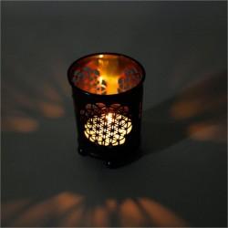 Portacandela Fiore della Vita - in colore bronzo