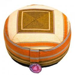 Cuscino meditazione motivo crema/arancio