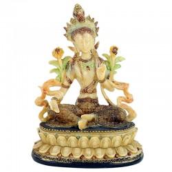 Statua colorata del Buddha femminile Tara verde.