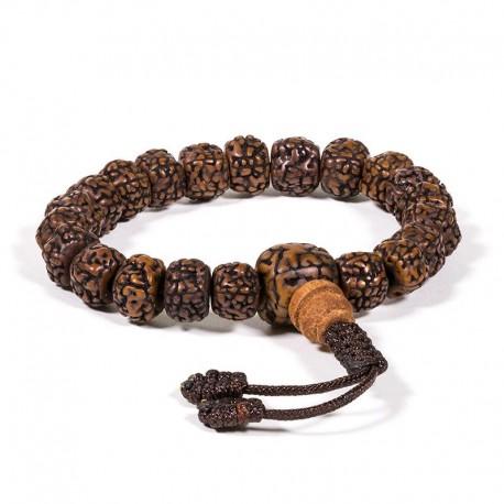 Mala/braccialetto in Rudraksha 21 grani lucidati