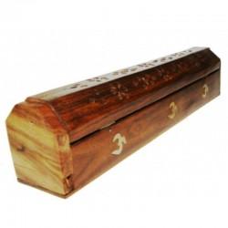 Brucia Incenso in legno artigianale con contenitore Yin Yang