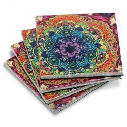 Sottobicchieri con mandala colorato Confezione da 4 sottobicchieri
