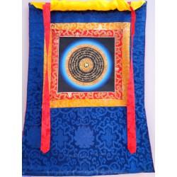 Thanka Thangka Tibet Nepal lavorato a mano Om Mani Padme Hum Oro/Nero