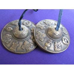 Cimbali Tibetani 8 Simboli della Fortuna 6,5 cm