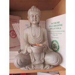 Statua Buddha Pacifico con portacandela : statua artigianale indiana