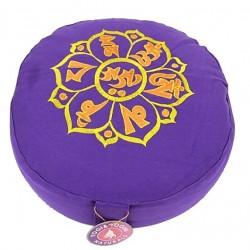 Cuscino meditazione Om mani padme hum viola