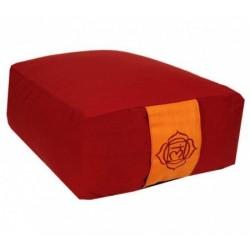 Cuscino da meditazione rettangolare - 1°chakra Muladhara - rosso scuro